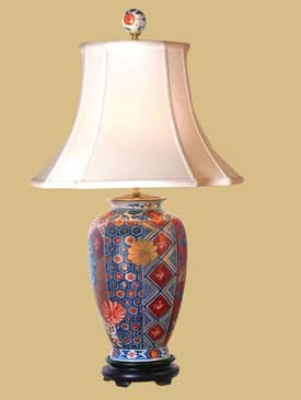 East Enterprises Oriental Gold Imari Vase Oriental Table Lamp With Multi Finish Lighting