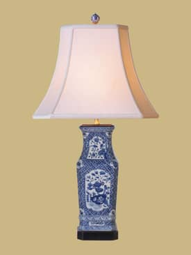 East Enterprises Oriental Blue & White Oriental Vase Table Lamp With Blue Finish Lighting
