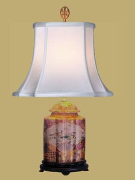 East Enterprises Oriental Satsuma Tea Jar Oriental Table Lamp With Multi Finish Lighting