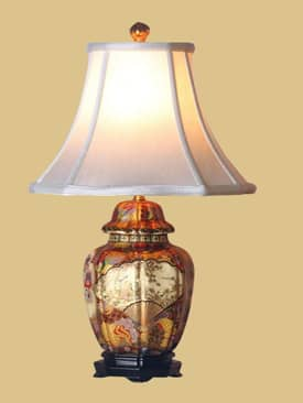 East Enterprises Oriental Satsuma Porcelain Jar Oriental Table Lamp With Multi Finish Lighting
