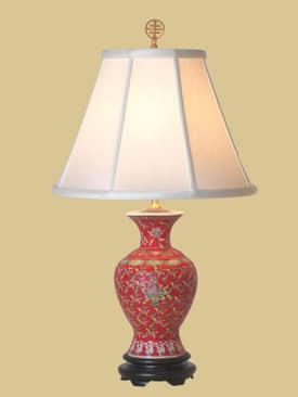 East Enterprises Oriental Red Vase Oriental Table Lamp With Red Finish Lighting