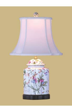 East Enterprises Country & Floral Porcelain Scallops Tea Jar LPDSSF0810A Table Lamp In White Lighting