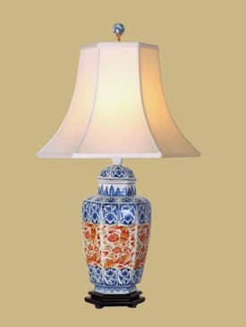 East Enterprises Oriental Tall Hex Imaria Vase Oriental Table Lamp With Blue Finish Lighting