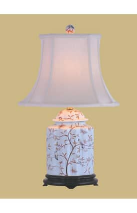East Enterprises Country & Floral Porcelain Scallops Tea Jar LPDWYN0810A Table Lamp In White Lighting