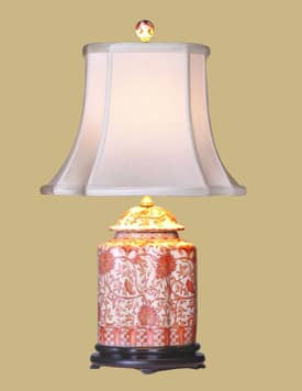 East Enterprises Oriental Orange Porcelain Jar Oriental Table Lamp With Orange Finish Lighting