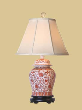 East Enterprises Oriental Coral Temple Porcelain Jar Oriental Table Lamp With Orange Finish Lighting