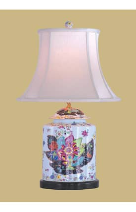 East Enterprises Country & Floral Porcelain Tobacco Leaf Scallops Jar LPDYY0813B Table Lamp In White Lighting