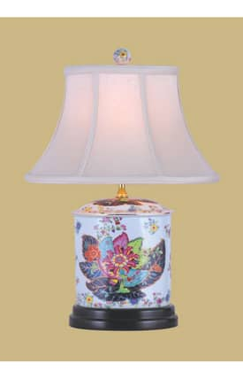 East Enterprises Country & Floral Tobacco Porcelain Oval Jar LPDYY088N Table Lamp In White Lighting