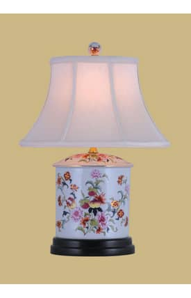 East Enterprises Country & Floral Porcelain Famille Oval Jar LPFG088N Table Lamp In White Lighting