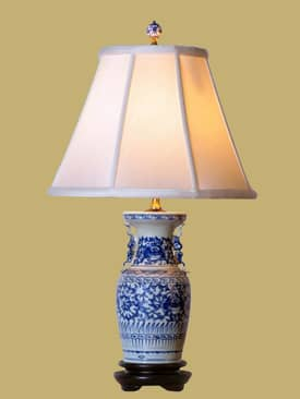 East Enterprises Oriental Floral Blue & White Oriental Table Lamp With Blue Finish Lighting
