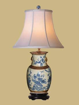 East Enterprises Oriental Phoenix Vase Porcelain Table Lamp With Antique Finish Lighting