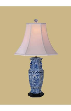 East Enterprises Asian Canton Porcelain Hexad Vase LPJBW1014L Table Lamp In Blue Lighting