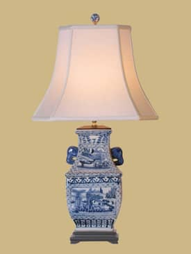 East Enterprises Oriental Blue & White Village Scene Oriental Table Lamp With Blue Finish Lighting