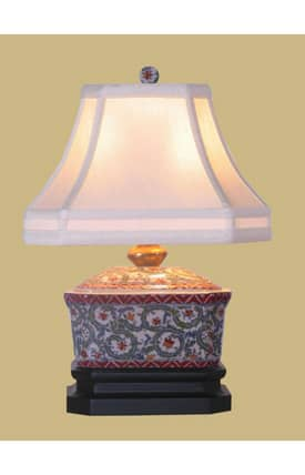 East Enterprises Asian Porcelain Floral Candy Box LPJCP088J Table Lamp In Multi Lighting