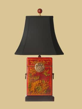 East Enterprises Oriental Box Oriental Leather Table Lamp With Red Finish Lighting