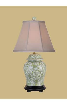 East Enterprises Asian Porcelain Jar LPNG0813E Table Lamp In Lemon Green Lighting