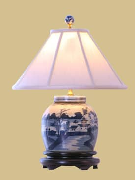 East Enterprises Oriental Caton Jar Oriental Table Lamp With Blue Finish Lighting
