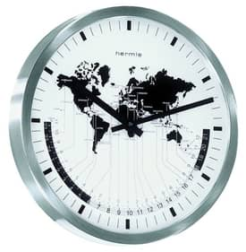 Hermle Wall Clocks World Time Wall Clock with Silver Finish