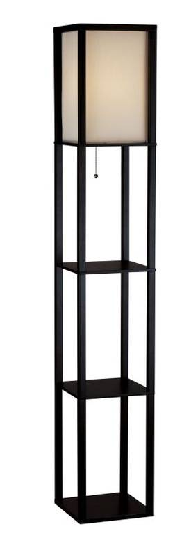 Adesso Wright Wright Tall Floor Lamp in Black Walnut Finish Lighting