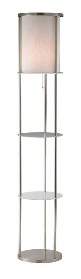 Adesso Holden Shelf Holden Shelf Floor Lamp in Satin Steel Finish Lighting