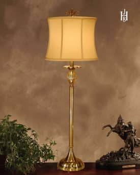 JB Hirsch Traditional Tuppance Console Brass Table Lamp Lighting