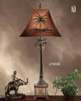 JB Hirsch Whimsical Burma Palm Resin Table Lamp Lighting