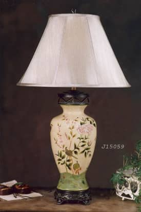 JB Hirsch Asian Birds with Flowers Porcelain Table Lamp Lighting