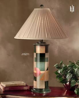 JB Hirsch Contemporary Impressions Column Porcelain Table Lamp Lighting