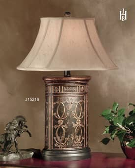 JB Hirsch Asian Regal Canister Resin Table Lamp Lighting