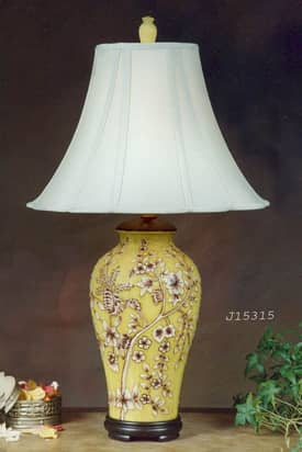 JB Hirsch Asian Flower Porcelain Table Lamp Lighting
