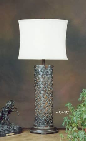 JB Hirsch Contemporary Basket Weave Resin Table Lamp Lighting