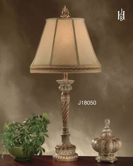 JB Hirsch Traditional Jacobean Swirl Metal Table Lamp Lighting