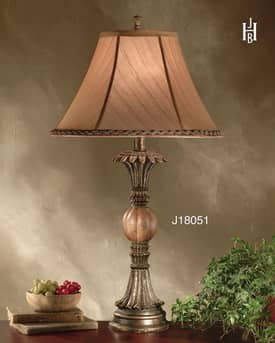 JB Hirsch Traditional Burma Stone Candlestand Resin Table Lamp Lighting