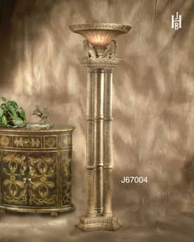 JB Hirsch Traditional Lion Resin Torchiere Floor Lamp Lighting