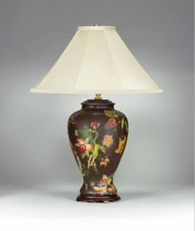 Sedgefield by Adams Sedgefield Brown Floral Porcelain Table Lamp with Hand Painted Finish Lighting