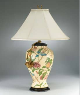 Sedgefield by Adams Sedgefield Porcelain Floral Birds Table Lamp in Hand Painted Finish Lighting