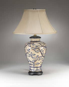 Sedgefield by Adams Sedgefield Trailing Blue Vine Table Lamp in Hand Painted Finish Lighting