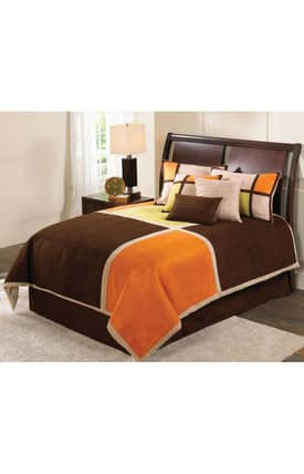 Hallmart Collectibles Contemporary Color Blocks Suede Comforter Set