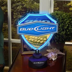 The Memory Company Neon Shield Bud Light Dual Lit Neon Shield Table Lamp in Blue Lighting