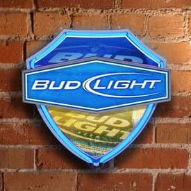 The Memory Company Neon Shield Wall Bud Light Dual Lit Neon Shield Wall Lamp in Blue Lighting