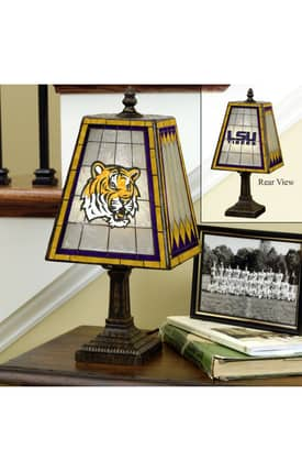 The Memory Company COL Louisiana State University Art Glass Table lamp in Brass Finish Lighting