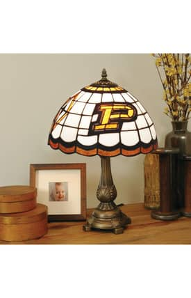 The Memory Company COL Purdue Tiffany Table Lamp in Brass Finish Lighting