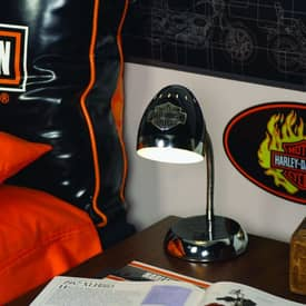The Memory Company Harley Davidson Harley Davidson Desk Lamp in Chrome & Black Lighting
