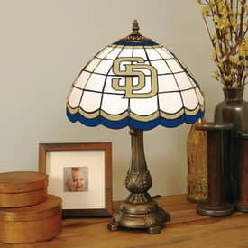 The Memory Company MLB San Diego Padres MLB Tiffany Table Lamp in Brass Finish Lighting