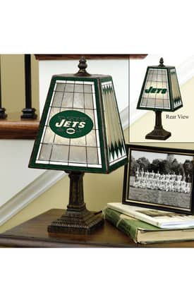 The Memory Company NFL New York Jets NFL Art Glass Table Lamp in Brass Finish Lighting