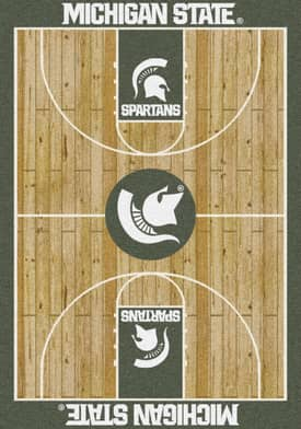 Milliken College Court Michigan State Rug