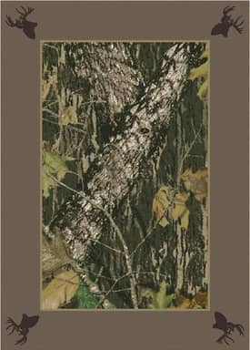 Milliken Mossy Oak™ Camo Breakup Border with Deer Heads Rug
