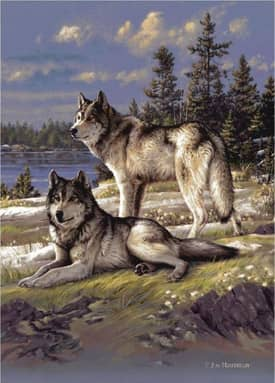 Milliken Wildlife Impression Hautman Wolves On Guard Rug