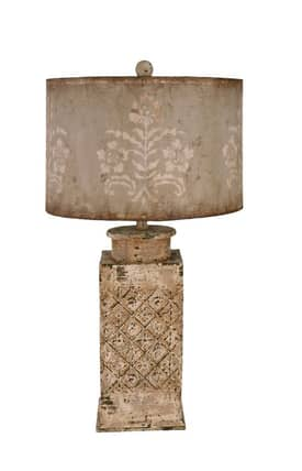 Guild Master Hudson Hudson Table Lamp in Distressed White Finish Lighting