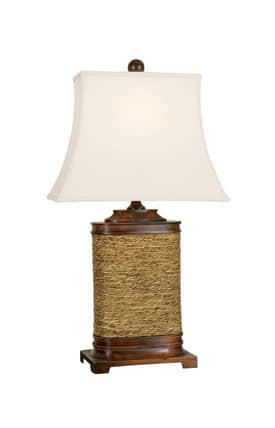 Mario Industries Contemporary Wood And Seagrass Table Lamp in Brown Finish Lighting